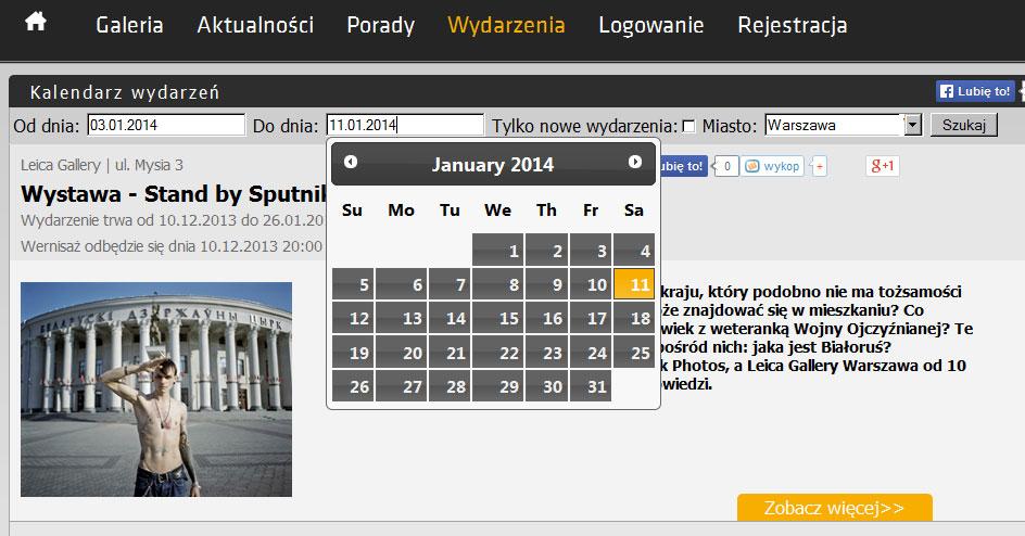 Przykład elementu Kalendarza wydarzeń i wystaw.