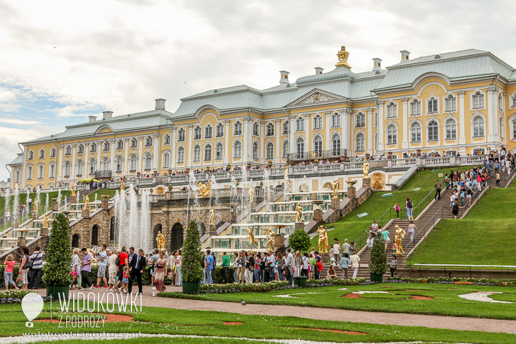 View of the Grand Palace and the Great Cascade. Peterhof.
